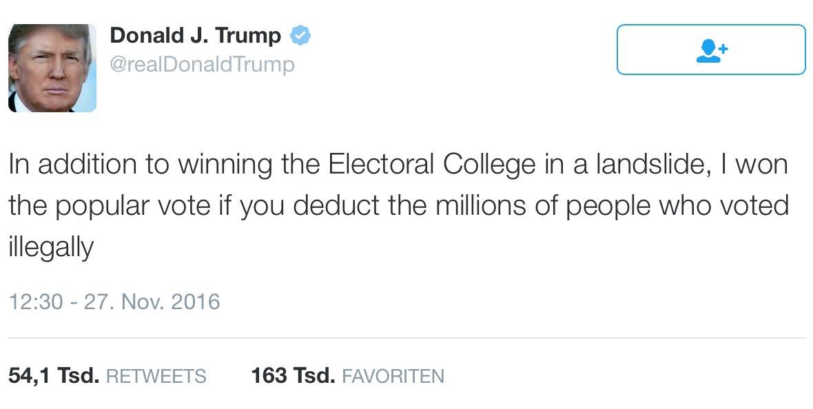 in dieser twitternachricht erklrt donald trump er habe nicht nur die mehrheit im kollegium der wahlfrauen und wahlmnner erhalten sondern auch die - Jrgen Todenhfer Lebenslauf
